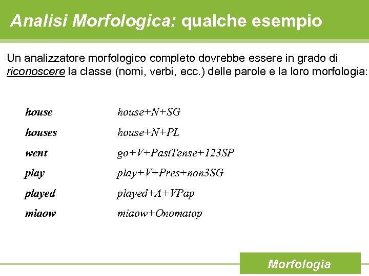 Analisi Morfologica: qualche esempio Un analizzatore morfologico completo dovrebbe essere in grado di riconoscere