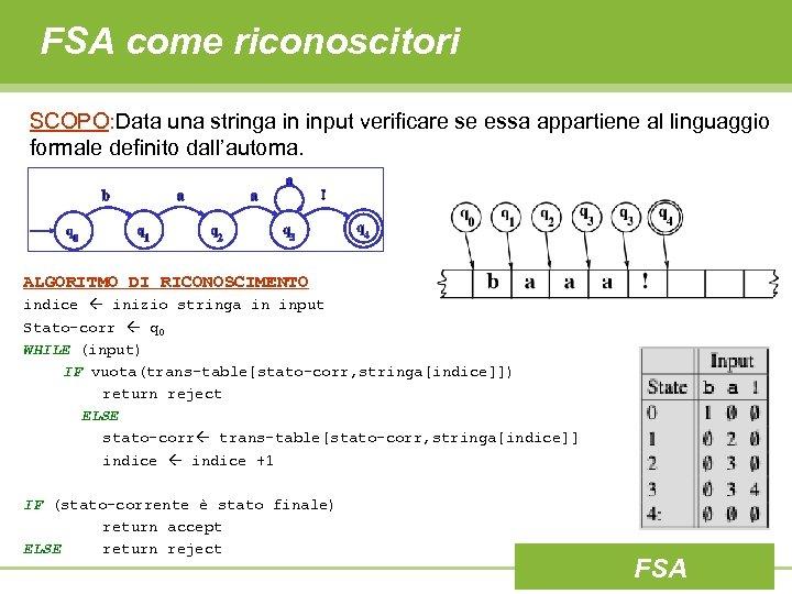 FSA come riconoscitori SCOPO: Data una stringa in input verificare se essa appartiene al
