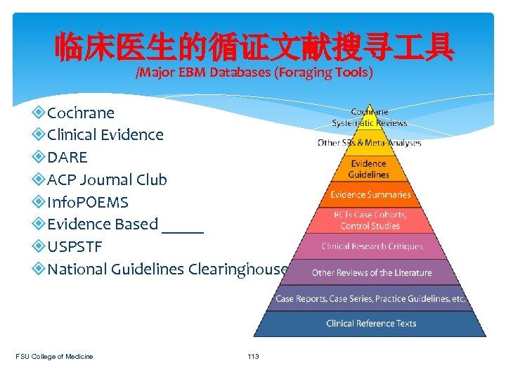 临床医生的循证文献搜寻 具 /Major EBM Databases (Foraging Tools) Cochrane Clinical Evidence DARE ACP Journal Club