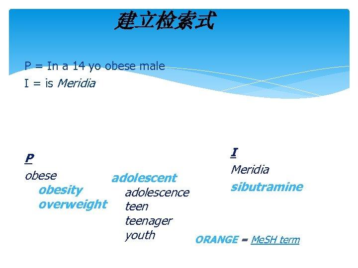 建立检索式 P = In a 14 yo obese male I = is Meridia I