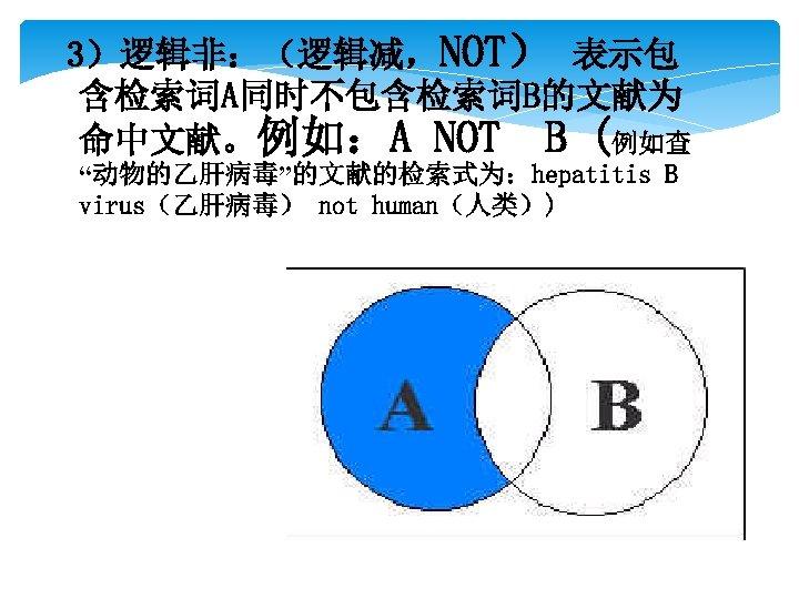 """3)逻辑非:(逻辑减,NOT) 表示包 含检索词A同时不包含检索词B的文献为 命中文献。例如:A NOT B (例如查 """"动物的乙肝病毒""""的文献的检索式为:hepatitis B virus(乙肝病毒) not human(人类))"""