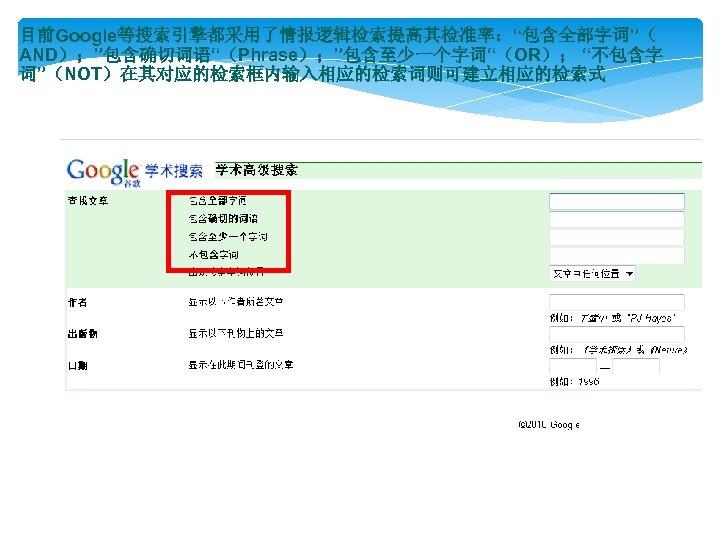 """目前Google等搜索引擎都采用了情报逻辑检索提高其检准率:""""包含全部字词""""( AND);""""包含确切词语""""(Phrase);""""包含至少一个字词""""(OR); """"不包含字 词""""(NOT)在其对应的检索框内输入相应的检索词则可建立相应的检索式"""