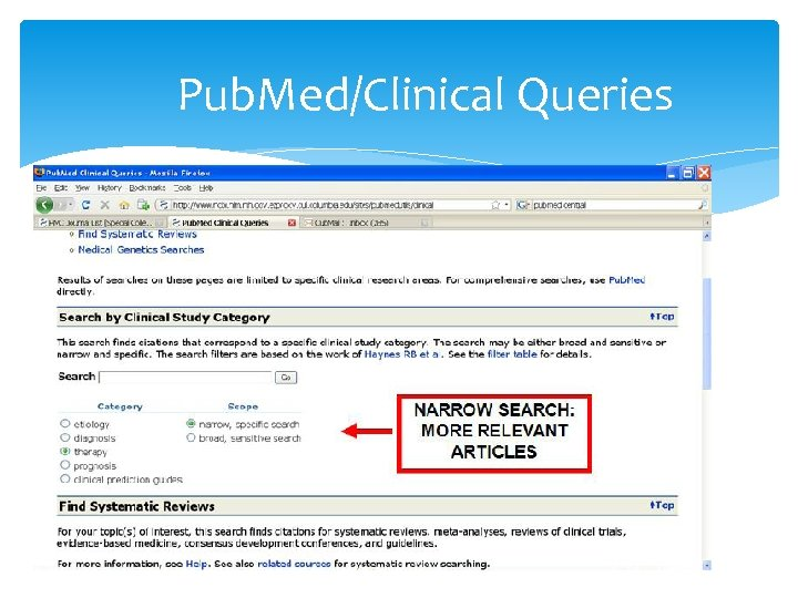 Pub. Med/Clinical Queries