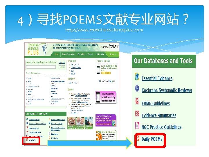 4)寻找POEMS文献专业网站? http: //www. essentialevidenceplus. com/