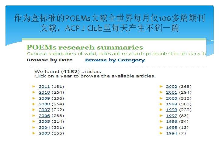 作为金标准的POEMs文献全世界每月仅100多篇期刊 文献,ACP J Club里每天产生不到一篇