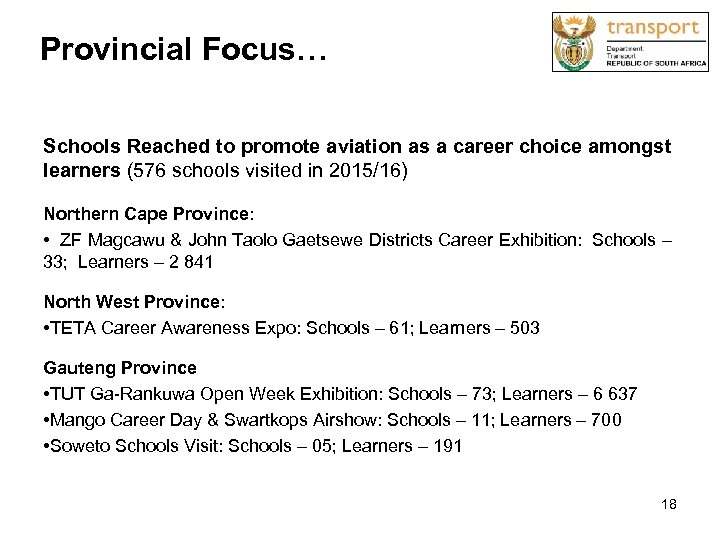Provincial Focus… Schools Reached to promote aviation as a career choice amongst learners
