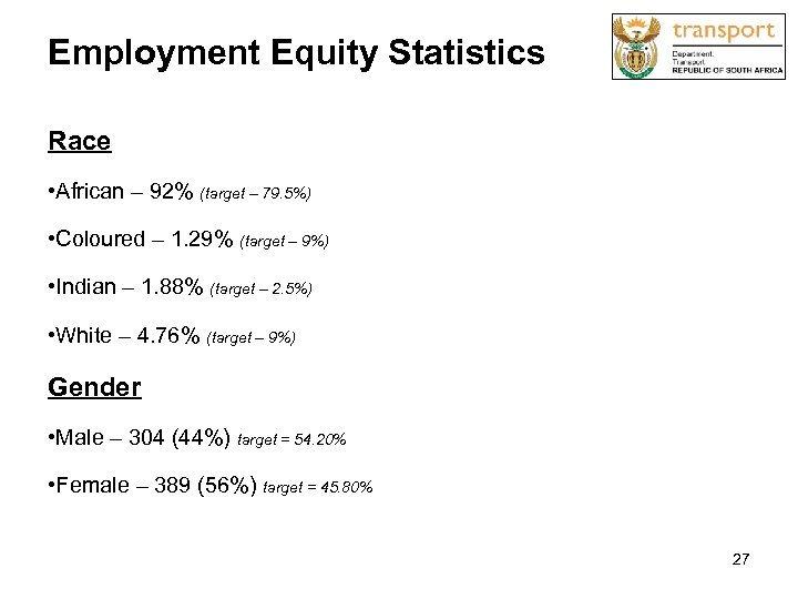 Employment Equity Statistics Race • African – 92% (target – 79. 5%) • Coloured