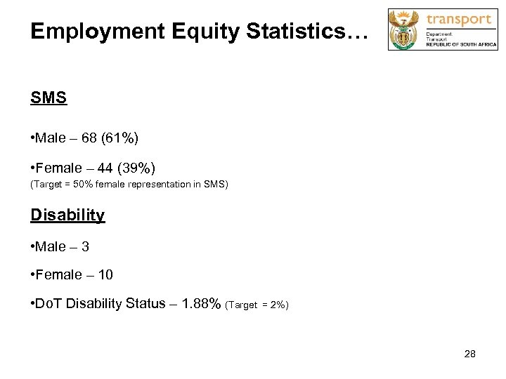 Employment Equity Statistics… SMS • Male – 68 (61%) • Female – 44 (39%)