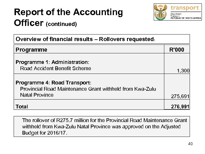 Report of the Accounting Officer (continued) Overview of financial results – Rollovers requested: Programme