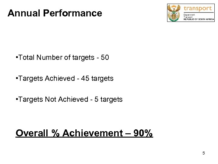 Annual Performance • Total Number of targets - 50 • Targets Achieved - 45