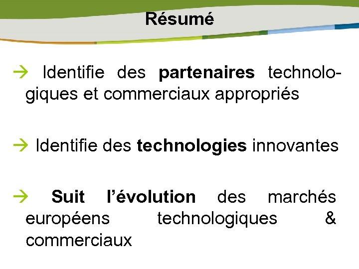 Résumé Identifie des partenaires technologiques et commerciaux appropriés Identifie des technologies innovantes Suit l'évolution