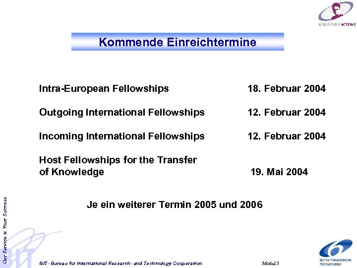 Kommende Einreichtermine 18. Februar 2004 Outgoing International Fellowships 12. Februar 2004 Incoming International Fellowships