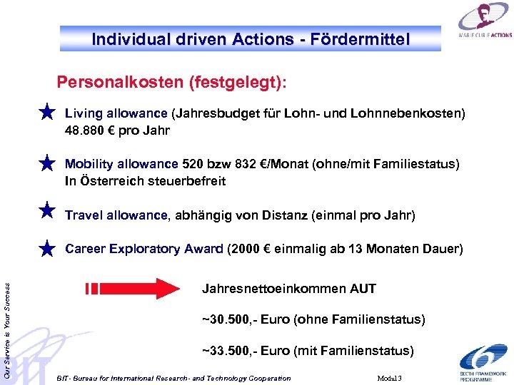 Individual driven Actions - Fördermittel Personalkosten (festgelegt): Living allowance (Jahresbudget für Lohn- und Lohnnebenkosten)