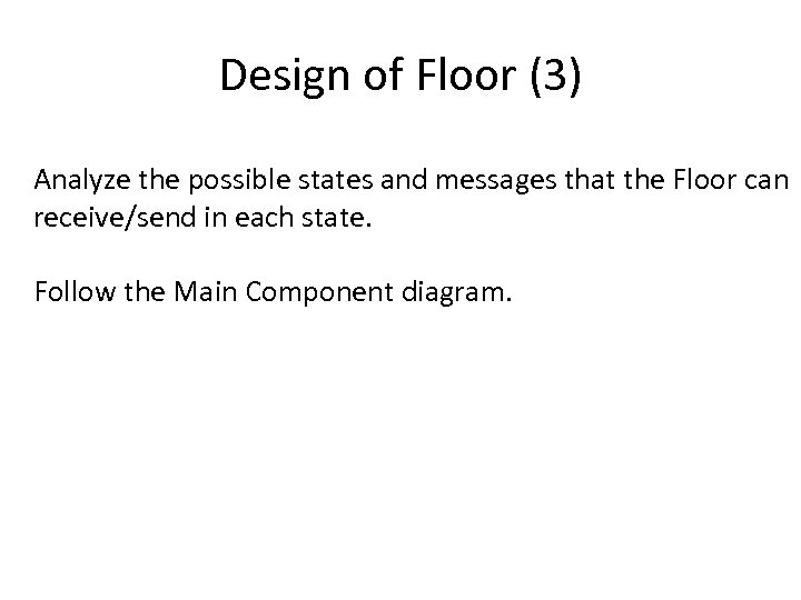 Design of Floor (3) Analyze the possible states and messages that the Floor can