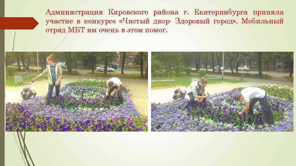 Администрация Кировского района г. Екатеринбурга приняла участие в конкурсе «Чистый двор- Здоровый город» .