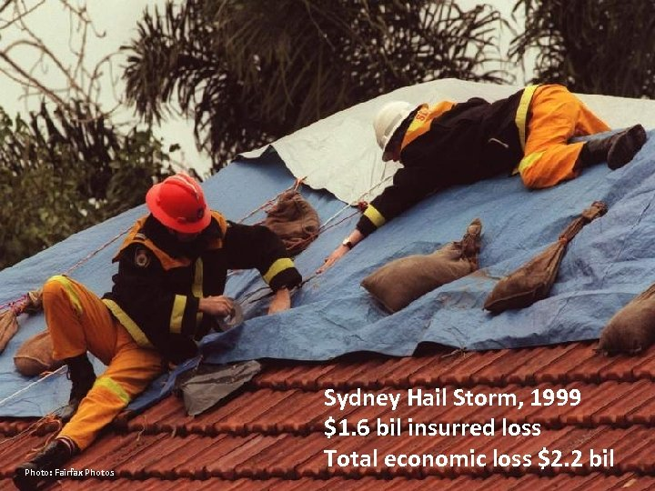 Photo: Fairfax Photos Sydney Hail Storm, 1999 $1. 6 bil insurred loss Total economic