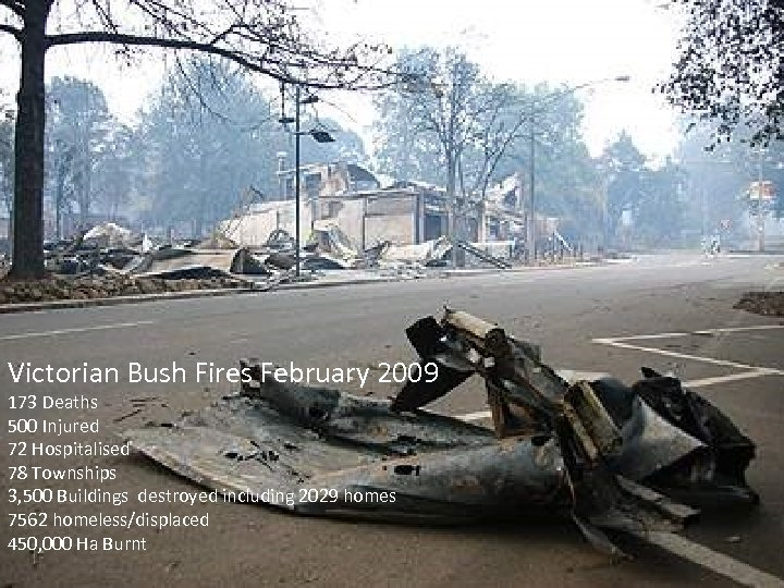 Victorian Bush Fires February 2009 173 Deaths 500 Injured 72 Hospitalised 78 Townships 3,