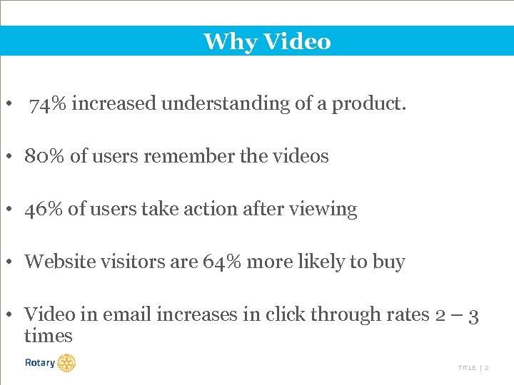 Why Video • 74% increased understanding of a product. • 80% of users remember