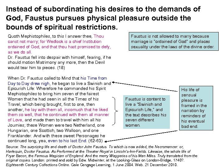 Instead of subordinating his desires to the demands of God, Faustus pursues physical pleasure