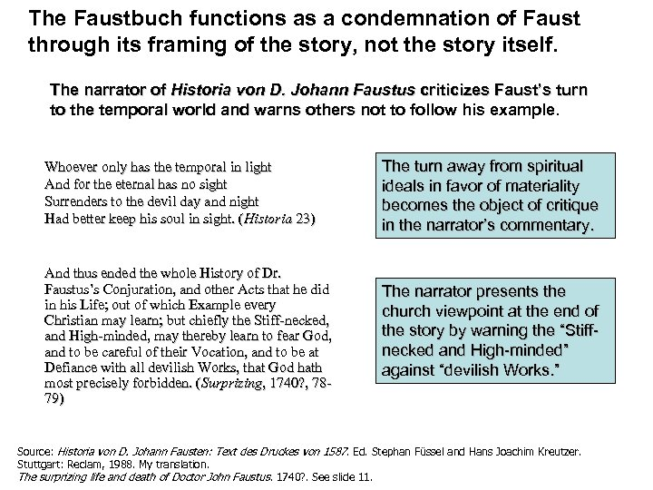 The Faustbuch functions as a condemnation of Faust through its framing of the story,