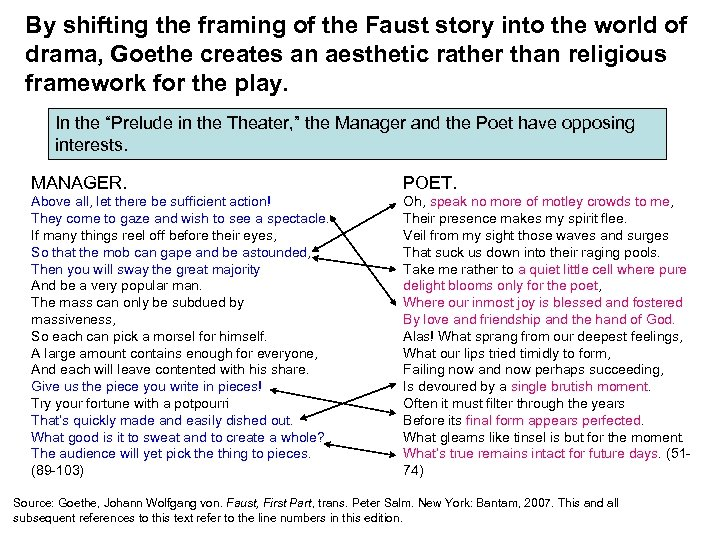 By shifting the framing of the Faust story into the world of drama, Goethe