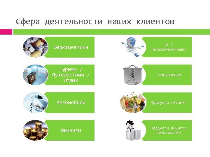 Сфера деятельности наших клиентов Фармацевтика IT / Телекоммуникации Туризм / Путешествия / Отдых Страхование