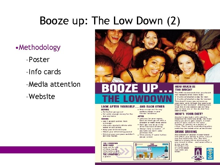 Booze up: The Low Down (2) • Methodology –Poster –Info cards –Media attention –Website