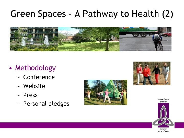 Green Spaces – A Pathway to Health (2) • Methodology – – Conference Website