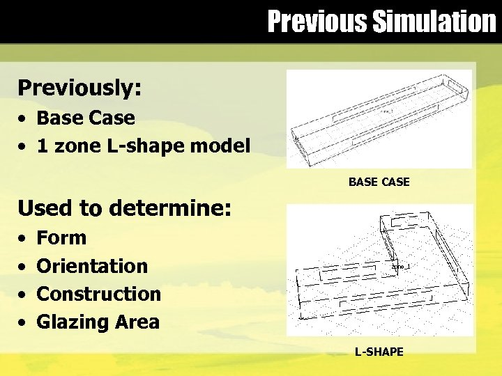 Previous Simulation Previously: • Base Case • 1 zone L-shape model BASE CASE Used