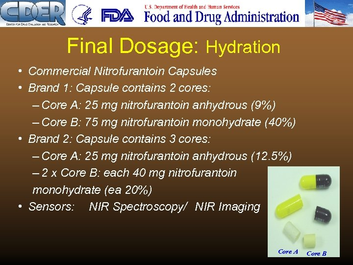 Final Dosage: Hydration • Commercial Nitrofurantoin Capsules • Brand 1: Capsule contains 2 cores: