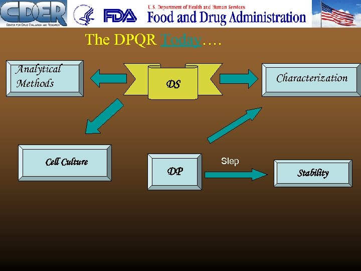 The DPQR Today…. Analytical Methods Cell Culture Characterization DS DP Slep Stability