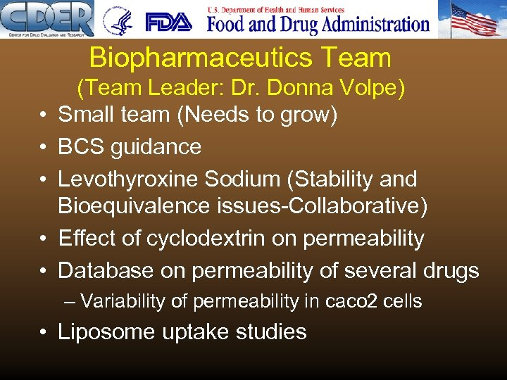 Biopharmaceutics Team • • • (Team Leader: Dr. Donna Volpe) Small team (Needs to