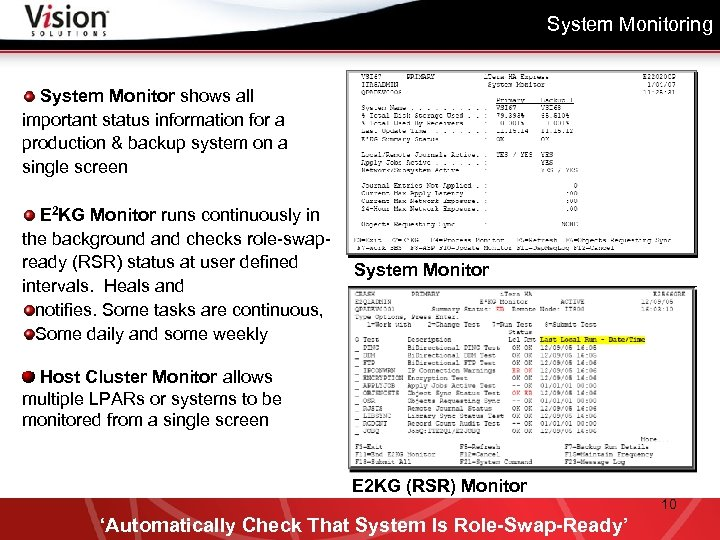 System Monitoring System Monitor shows all important status information for a production & backup