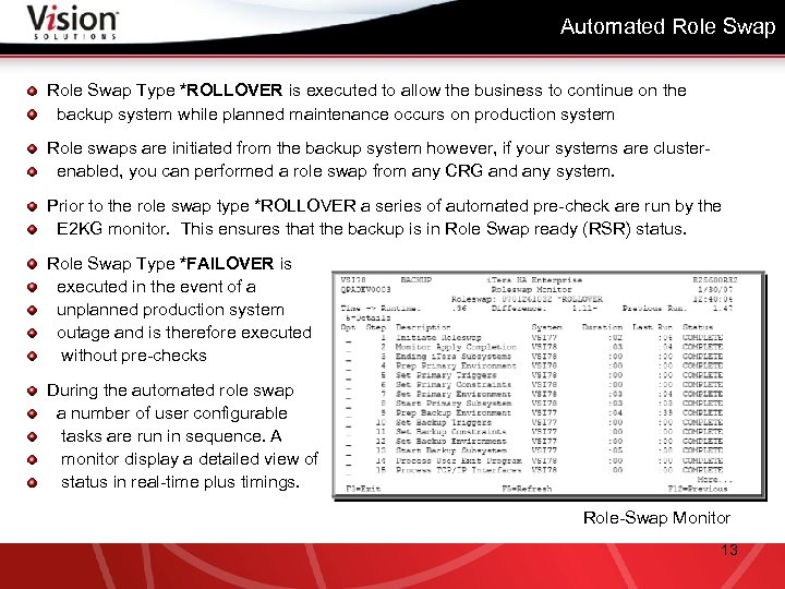 Automated Role Swap Type *ROLLOVER is executed to allow the business to continue on