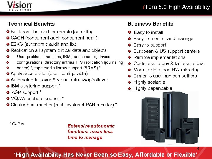 i. Tera 5. 0 High Availability Business Benefits Technical Benefits Built-from the start for
