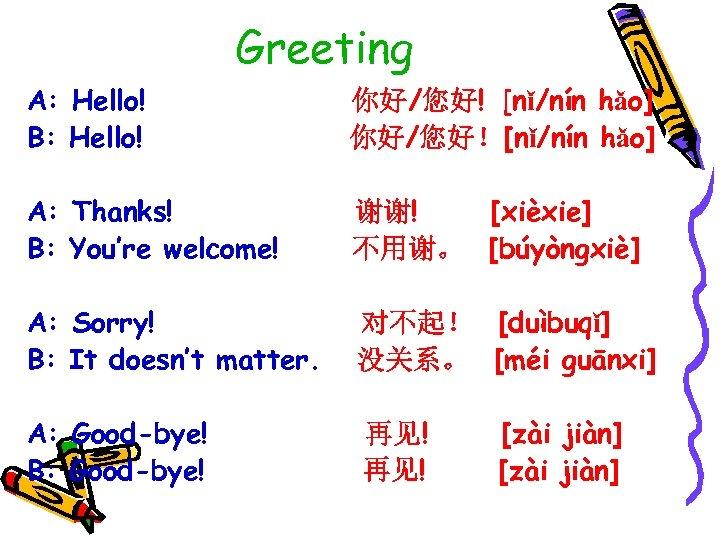 Greeting A: Hello! B: Hello! 你好/您好! [nǐ/nín hǎo] 你好/您好![nǐ/nín hǎo] A: Thanks! B: You're