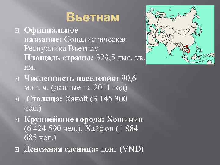 Вьетнам Официальное название: Соцалистическая Республика Вьетнам Площадь страны: 329, 5 тыс. кв. км. Численность