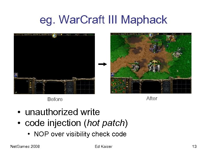 eg. War. Craft III Maphack After Before • unauthorized write • code injection (hot