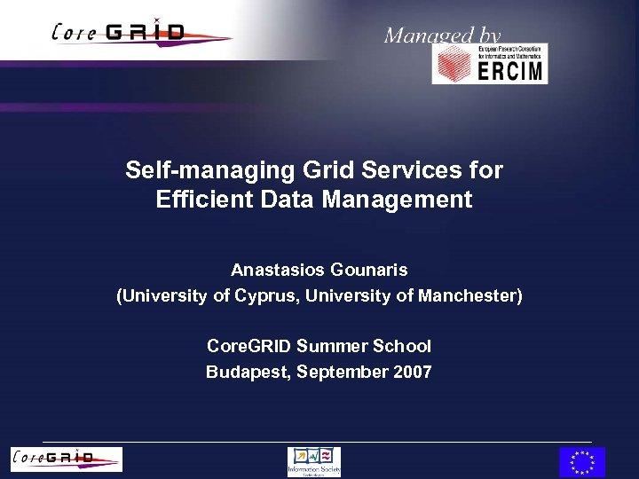 Self-managing Grid Services for Efficient Data Management Anastasios Gounaris (University of Cyprus, University of