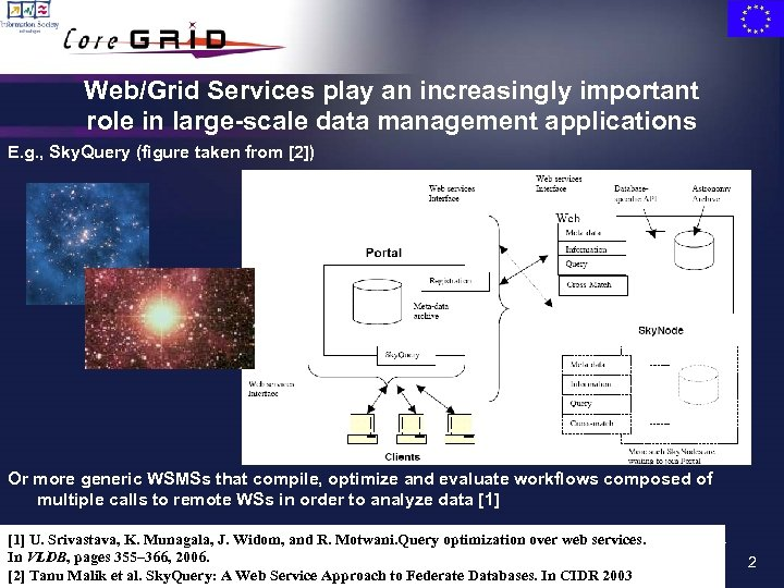Web/Grid Services play an increasingly important role in large-scale data management applications E. g.
