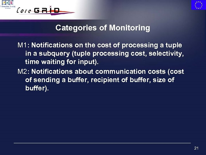 Categories of Monitoring M 1: Notifications on the cost of processing a tuple in