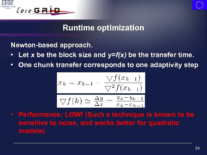 Runtime optimization Newton-based approach. • Let x be the block size and y=f(x) be