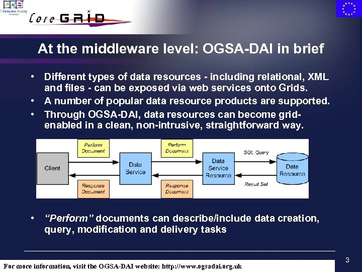 At the middleware level: OGSA-DAI in brief • Different types of data resources -