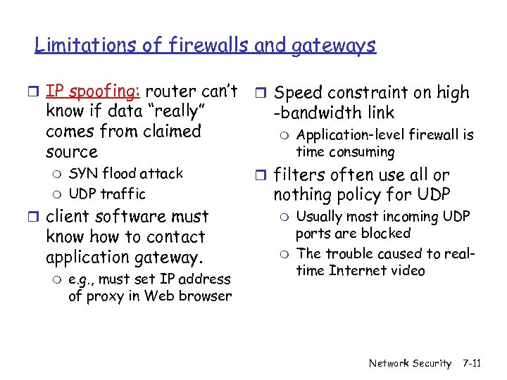"""Limitations of firewalls and gateways r IP spoofing: router can't know if data """"really"""""""