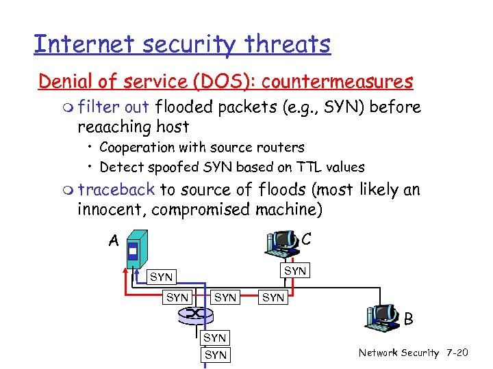 Internet security threats Denial of service (DOS): countermeasures m filter out flooded packets (e.