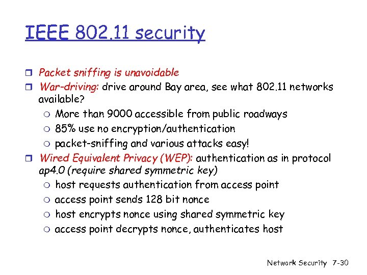 IEEE 802. 11 security r Packet sniffing is unavoidable r War-driving: drive around Bay