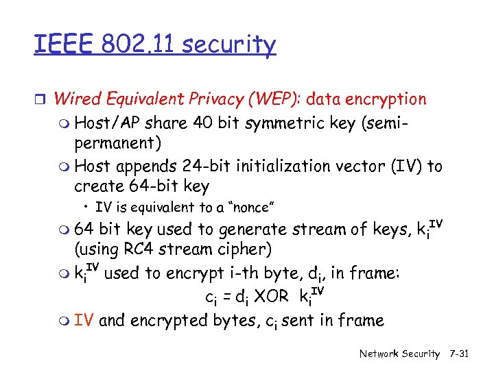 IEEE 802. 11 security r Wired Equivalent Privacy (WEP): data encryption m Host/AP share