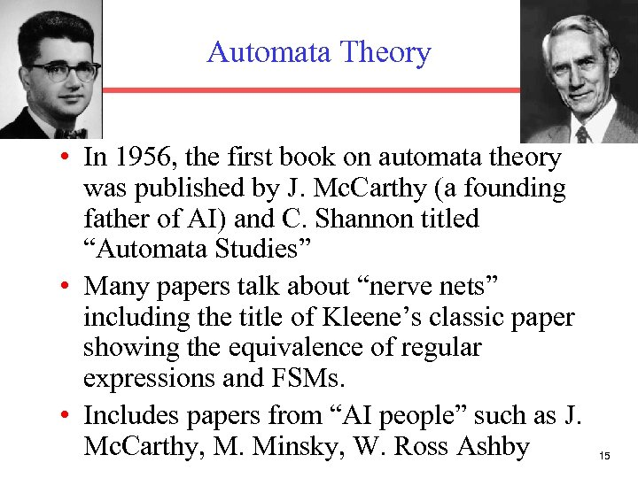 Automata Theory • In 1956, the first book on automata theory was published by