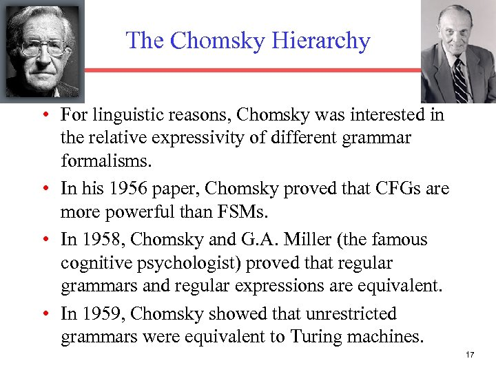 The Chomsky Hierarchy • For linguistic reasons, Chomsky was interested in the relative expressivity
