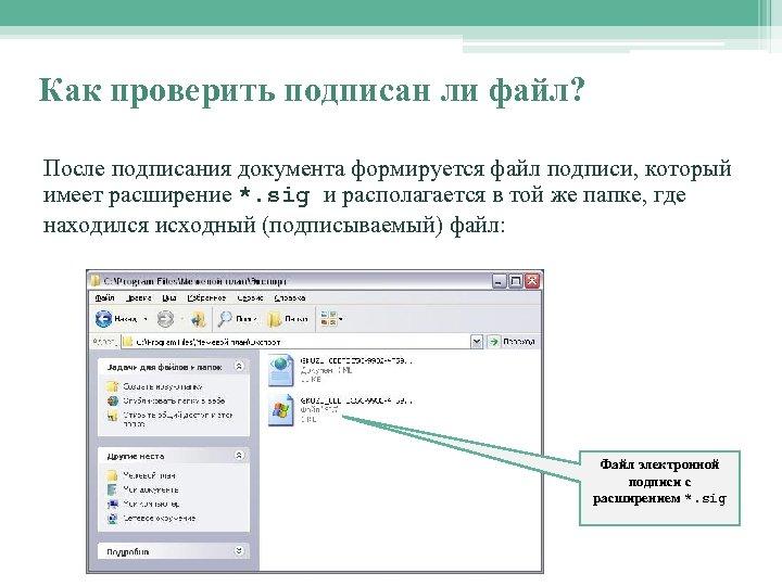 Как проверить подписан ли файл? После подписания документа формируется файл подписи, который имеет расширение
